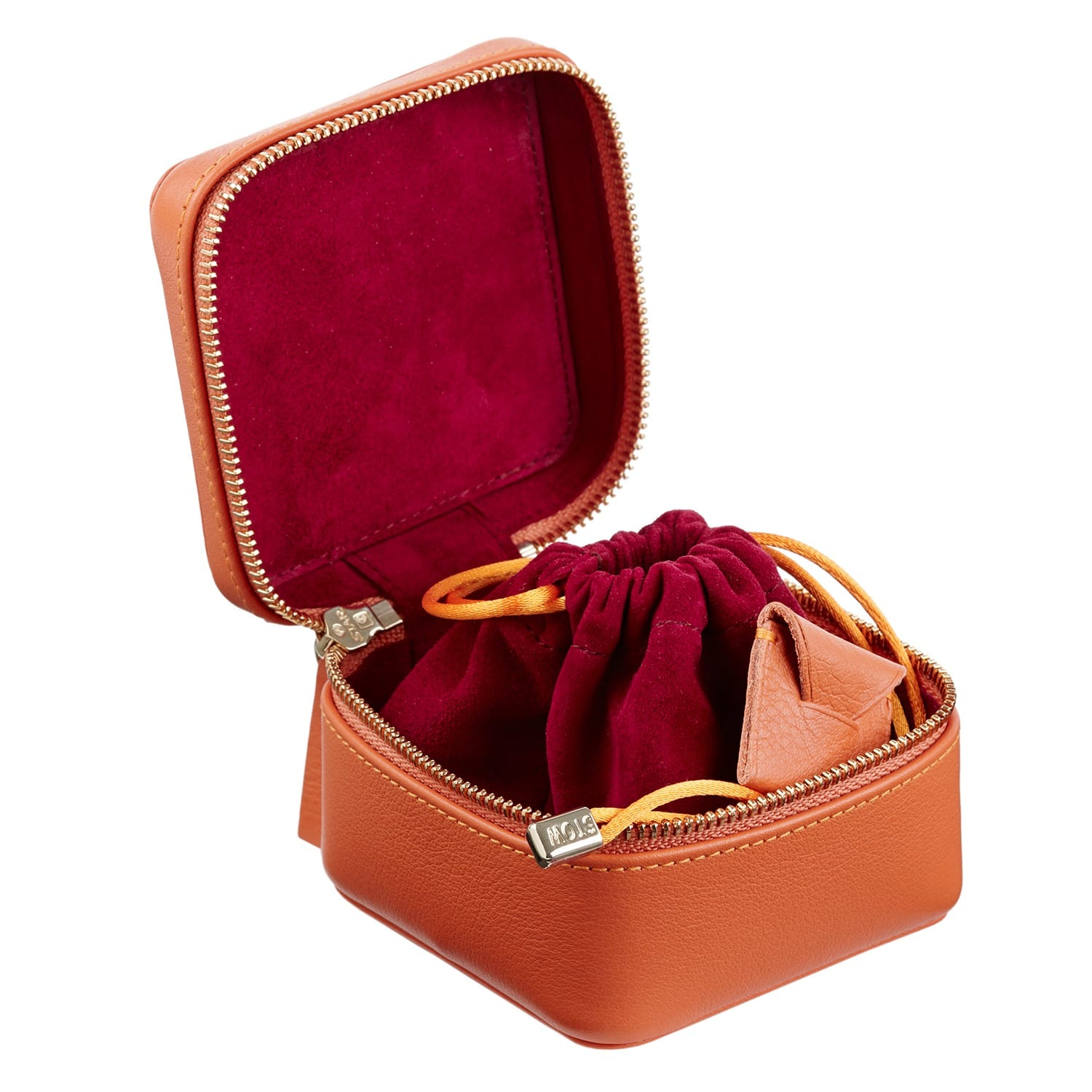 41199baef Soft Leather Hester Travel Jewellery Box Amber Orange & Berry | Stow ...