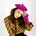 Fallon Purple Pom-Pom Knitted Silk Cashmere Beret image