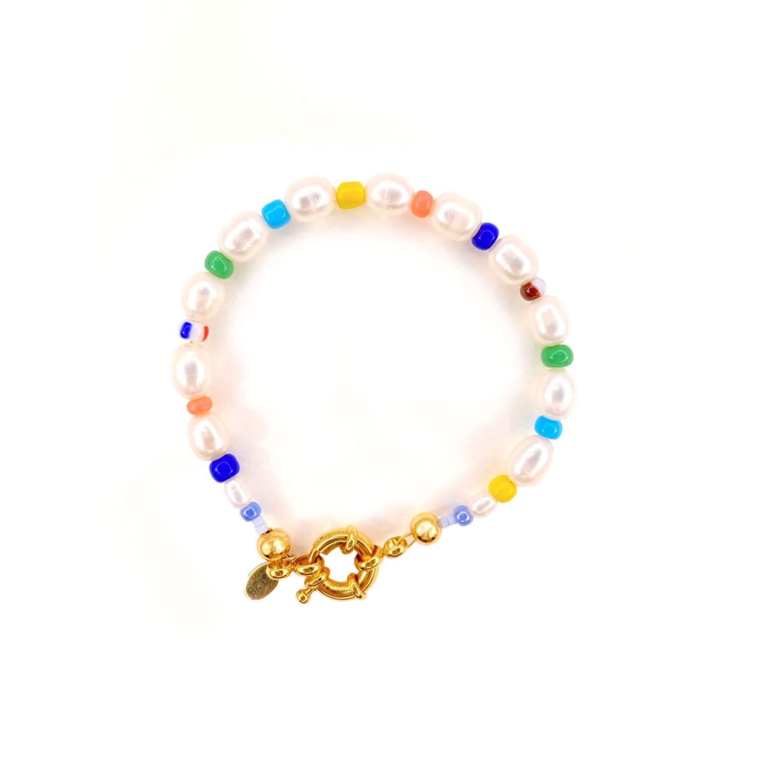 Summer Reflection Pearl and Beaded Gold Bracelet Lot28 at Wolf & Badger