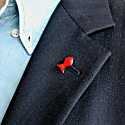 Little Red Fish Pin in Sterling Silver & Enamel image