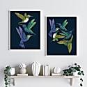 Antique Hummingbirds Ii Indigo Fine Art Print A5 image