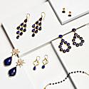 Medium Circle Stud Earrings Lapis Lazuli Gold image