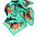Large Tropical Rainforest Teal Silk Scarf image