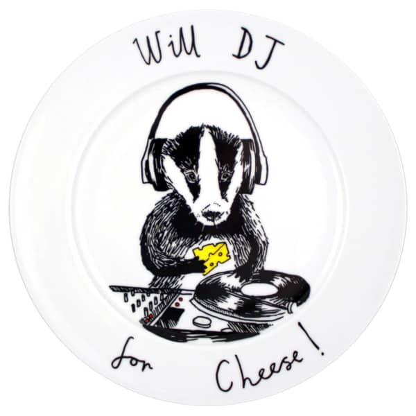 dj badger plate jimbob art wolf badger. Black Bedroom Furniture Sets. Home Design Ideas