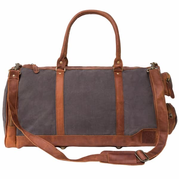 MAHI LEATHER Canvas Leather Columbus Holdall/Duffle Weekend/Overnight Bag in Grey
