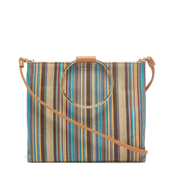 THACKER NEW YORK Le Pouch in Khaki Stripe and Miel