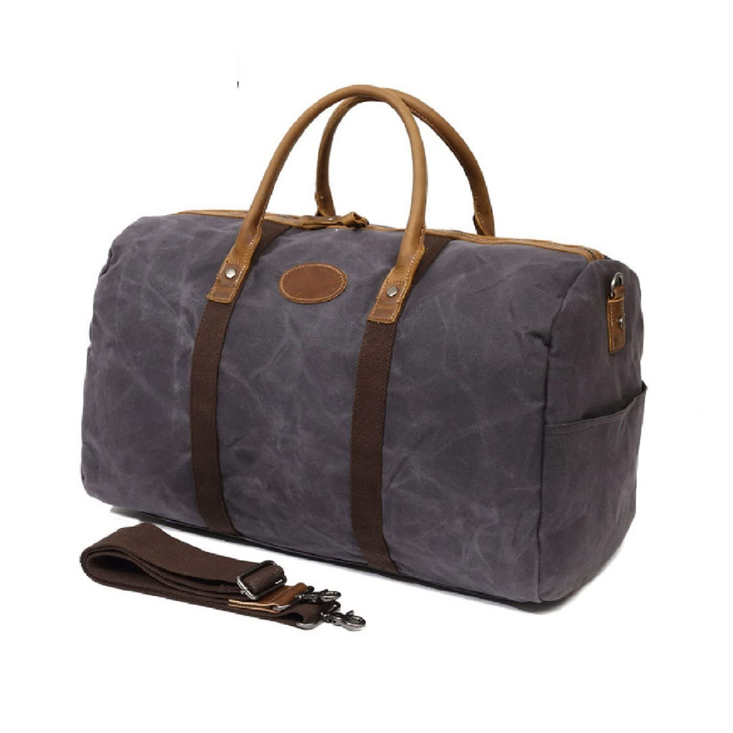 9515e3dec8 Waxed Canvas   Vintage Leather Holdall In Grey image