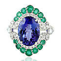 18Kt White Gold Indian Diamond Emerald Blue Sapphire Tanzanite Women Ring image