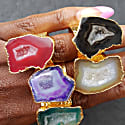 Raspberry Mega Gemstone Gold Statement Ring image