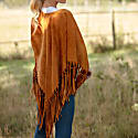 Suede Leather Knotted Fringe Shawl in Beige image