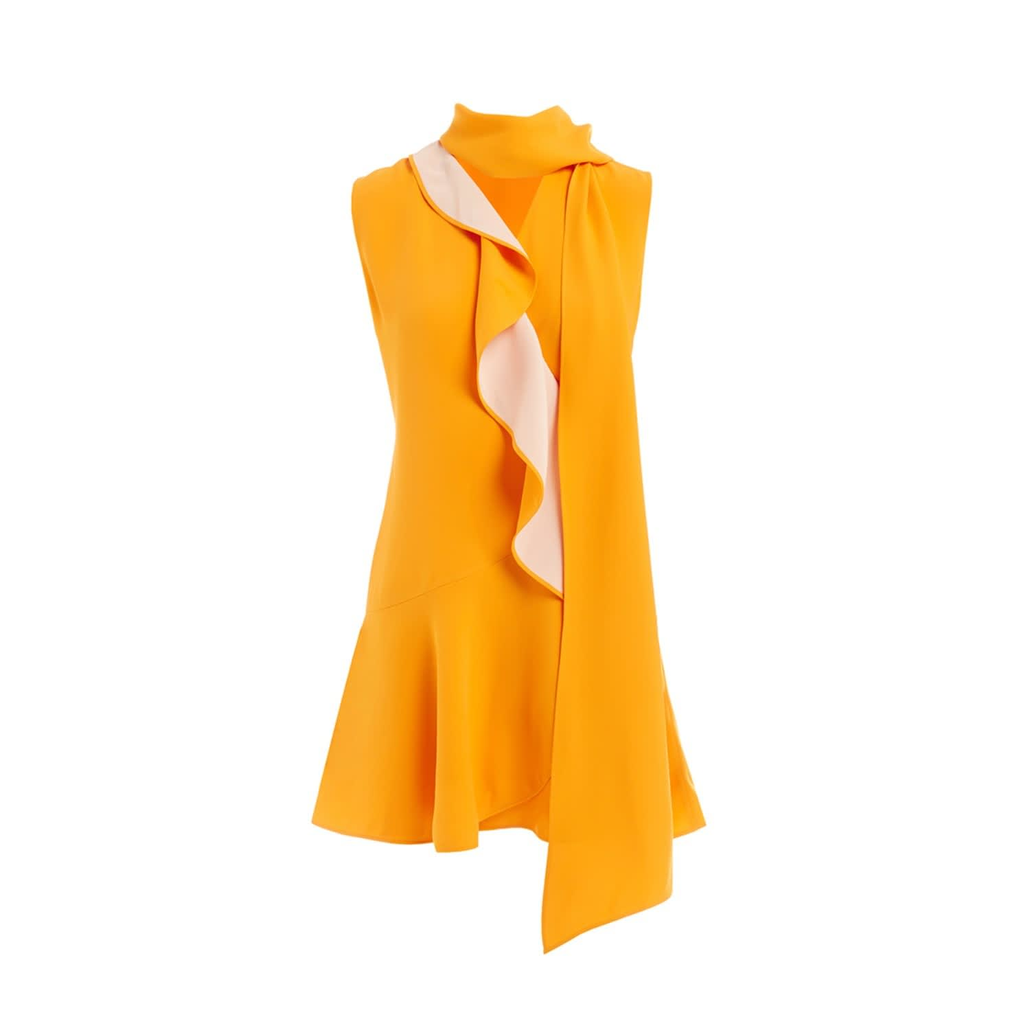 805a06217f555 Soko Yellow Silk Ruffle Scarf Mini Dress