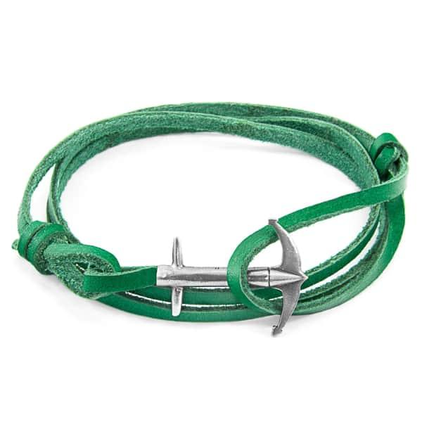 ANCHOR & CREW Fern Green Admiral Anchor Flat Leather & Silver Bracelet