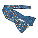 Teal Mosaic Printed Bourette Silk Butterfly Bow Tie image