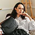 Elena Handmade Black & Pink Leather Handbag image
