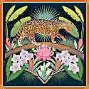 Night In The Jungle Large Cotton Silk Scarf - Square image