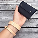 Handcrafted Small Leather Pouch / Business Card Holder - Mila - Matte Black image