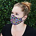 Womens Silk + Cotton Reversible Face Mask - Queen Of Hearts image