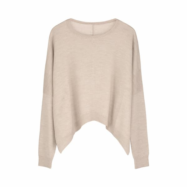 ILLE DE COCOS Merino Cropped Sweater Fawn & Gold