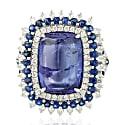 18Kt White Gold Blue Sapphire & Tanzanite Diamond Ring image