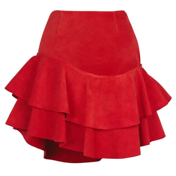 SIOBHAN MOLLOY Lashes Red Calf Suede Skirt