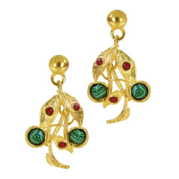 OTTOMAN HANDS Poison Ivy Malachite & Red Agate Drop Earrings