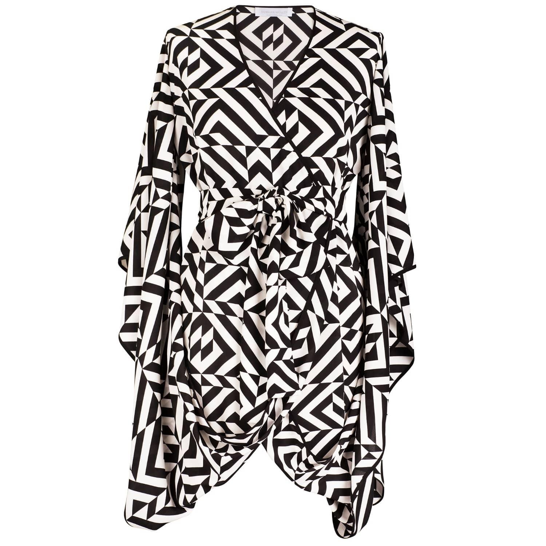 Nina Geometric Print Kimono Wrap Dress
