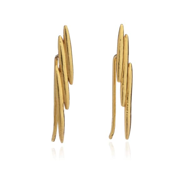Electric Goddess Ear Crawlers In Gold from Wolf & Badger