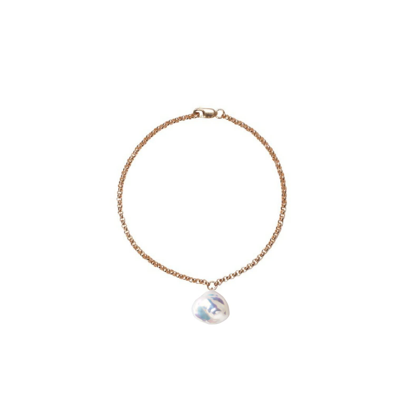 3a0573c6f2383 Mermaid Keshi Pearl Chain Bracelet Gold by ORA Pearls