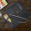 Black Leather Pencil & Brush Case For Artist & Crafters image