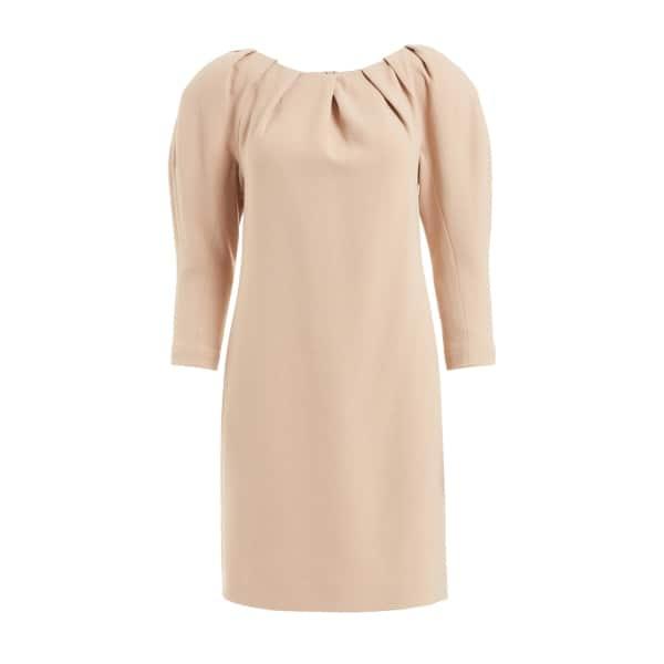 WTR  Vera Cream Padded Shoulder Wool Dress