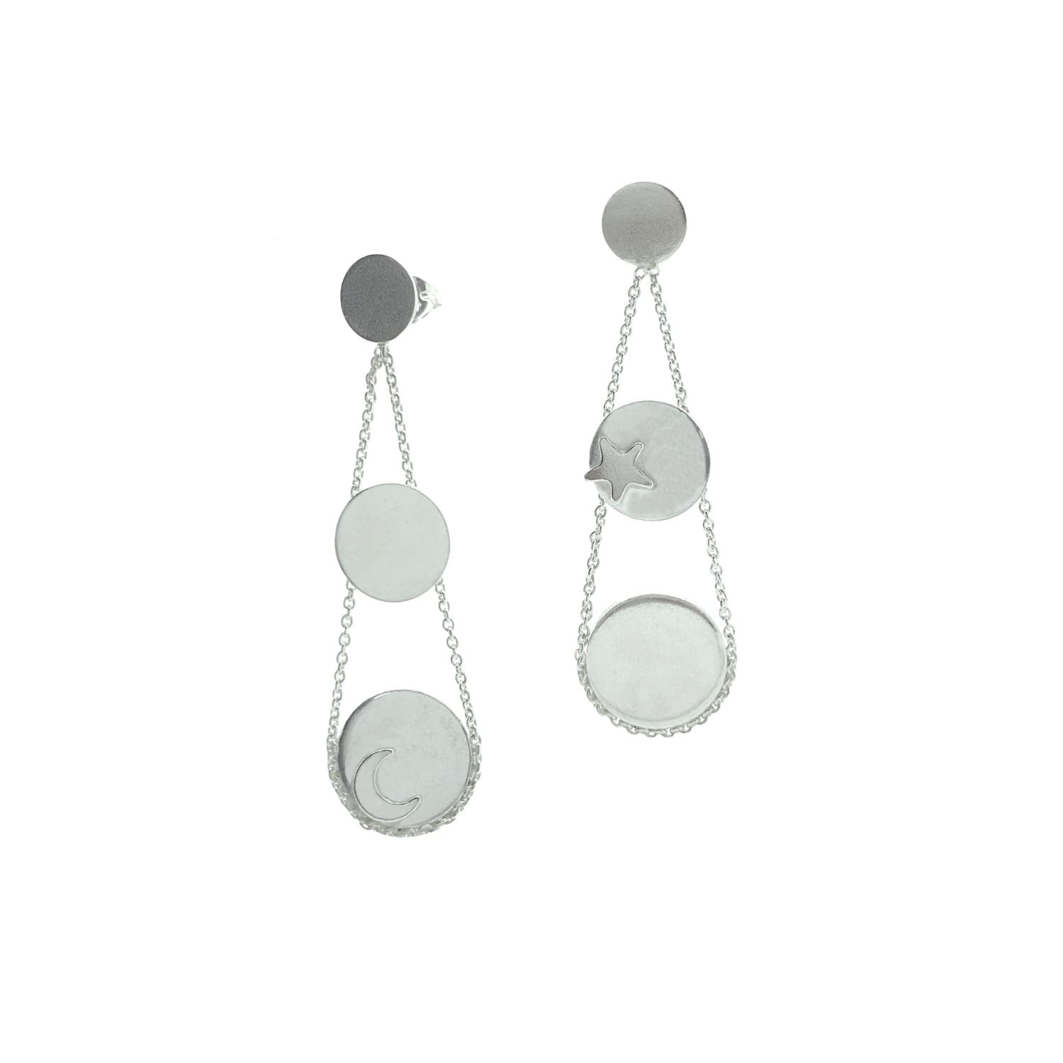 4806284abab Moon and Star Disc Drop Stud Earrings Sterling Silver by Lucy Ashton  Jewellery
