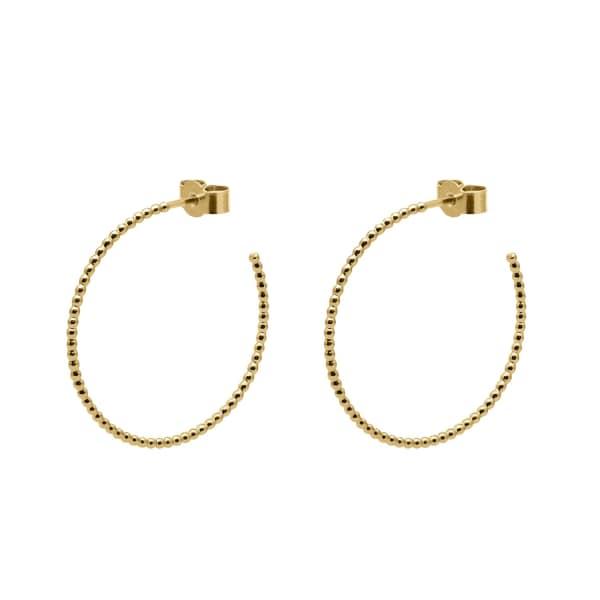 MYIA BONNER Gold Large Ball Hoop Earrings