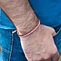 Vegan Pink & Light Brown Rope & Silver Bracelet For Men image