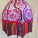 Pink Tiger Chinoiserie Print Velvet Dome Shade With Rainbow Fringe image