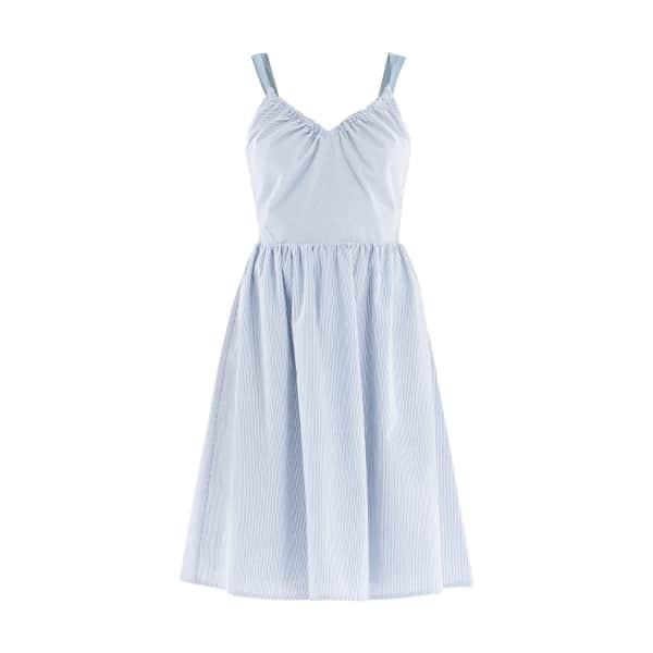 PAISIE Striped Dress with Denim Shoulder Straps & Back Knots