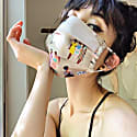 "Silk Face Mask In Original ""Social Distance"" Print image"
