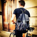 New York Fold Up Leather Based Backpack with Charcoal Denim image