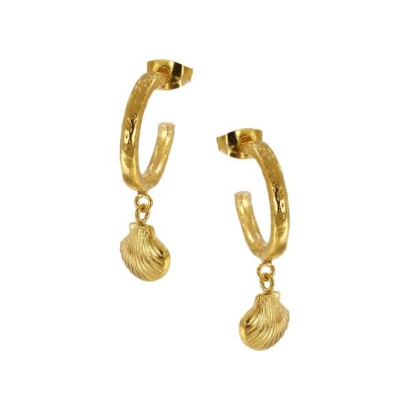 OTTOMAN HANDS Shell Charm Hoop Earrings