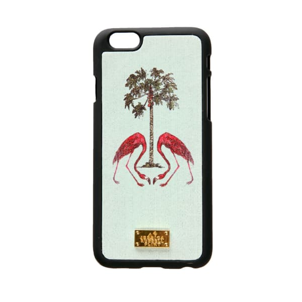 Leather Coated Iphone 6 Case Flamingo'S Under The Palm Tree