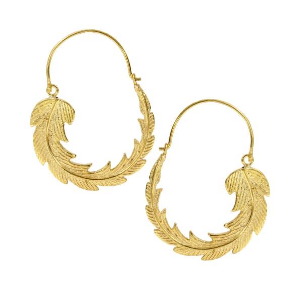 OTTOMAN HANDS Gold Feather Hoop Earrings