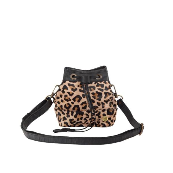 Mahi Leather Mini Bucket Drawstring Bag In Leopard Print Pony Hair & Black Leather