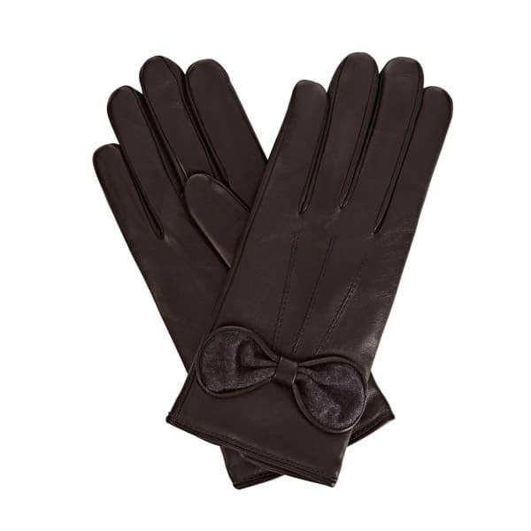 1fdd8d89dc5 GIZELLE RENEE PENELOPE BLACK LEATHER GLOVES WITH BLACK CASHMERE ...