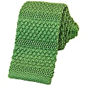 Light Green Solid Textured Striped Silk Knitted Tie image