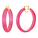 Frosted Lucite Hoops - Hot Pink image