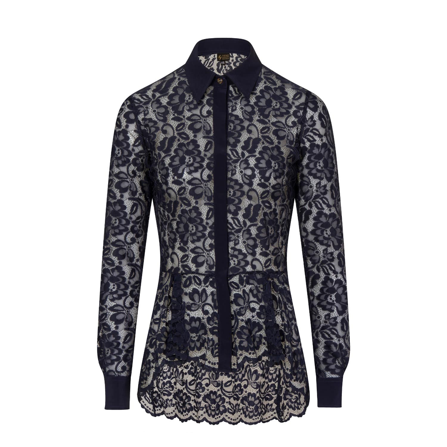 Midnight Blue Lace Shirt Sophie Cameron Davies Wolf Badger