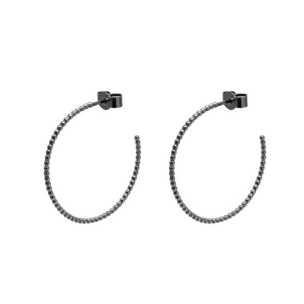 MYIA BONNER Black Large Ball Hoop Earrings