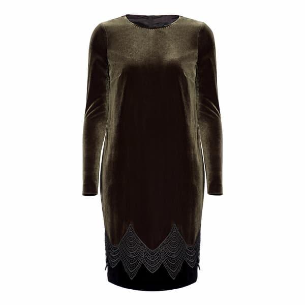 Khaki Midi Velvet Dress