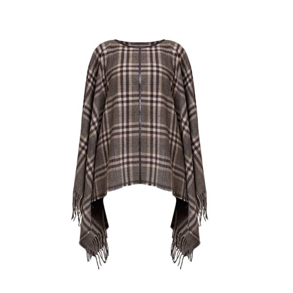AVA Check Wool-Blend Cape