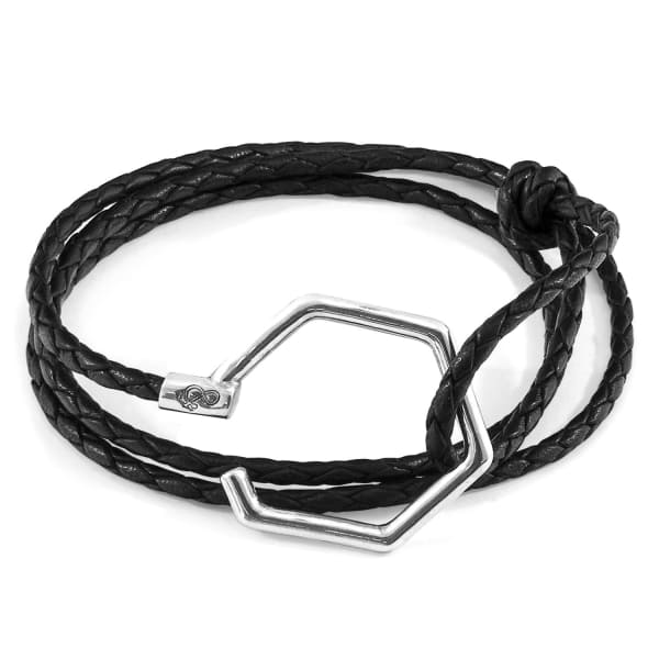 Anchor & Crew Coal Black Storey Silver & Braided Leather Bracelet