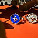Sterling Silver Croisette Signet Ring - Klein Blue Enamel image